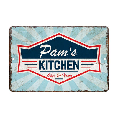 Personalized Vintage Kitchen Open 24 Hours Metal Room Sign