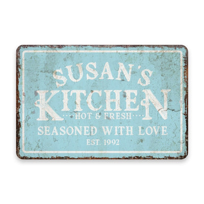 Personalized Vintage Distressed Look Mint Kitchen Seasoned with Love Metal Room Sign