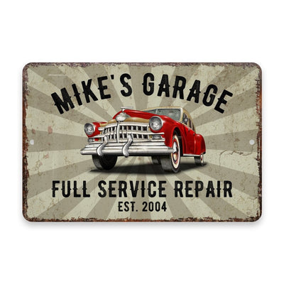 Personalized Vintage Distressed Look Classic Car Garage Metal Room Sign
