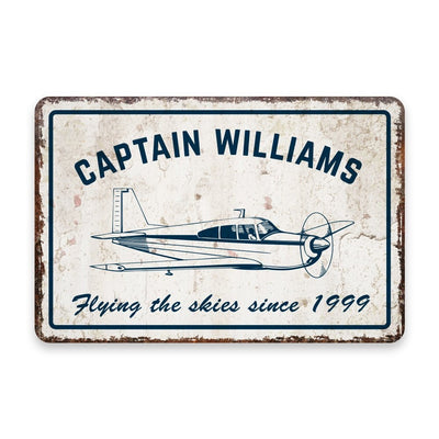 Personalized Vintage Distressed Look Pilot Flying The Skies Metal Room Sign