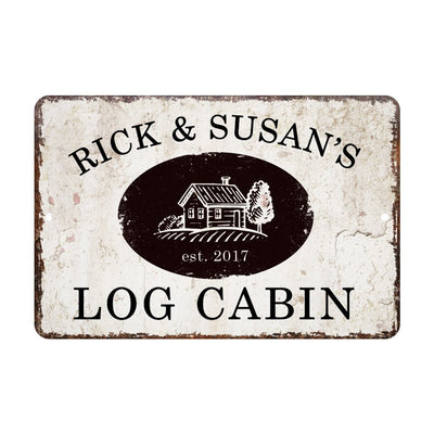 Personalized Vintage Distressed Look Log Cabin Metal Room Sign