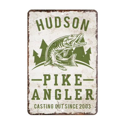 Personalized Vintage Distressed Look Pike Angler Metal Room Sign