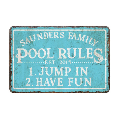 Personalized Vintage Distressed Look Pool Rules Metal Room Sign