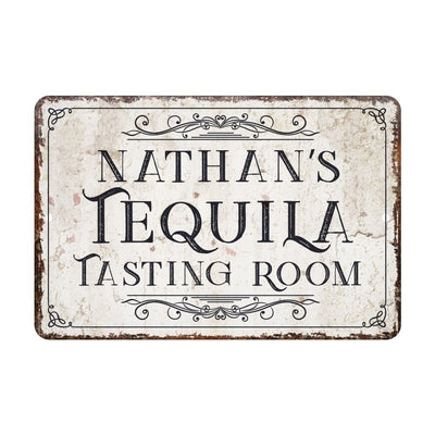Personalized Vintage Distressed Look Tequila Tasting Room Metal Sign