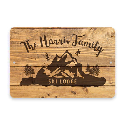 Personalized Rustic Wood Plank Ski Lodge Metal Room Sign