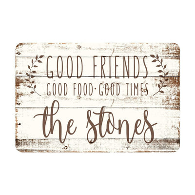 Personalized Good Friends, Good Food, Good Times Rustic Wood Look Metal Sign
