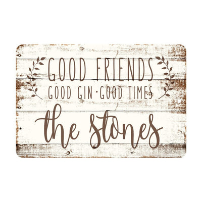 Personalized Good Friends, Good Gin, Good Times Rustic Wood Look Metal Sign