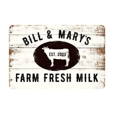 Personalized Farm Fresh Milk Rustic Barnwood Look Metal Sign