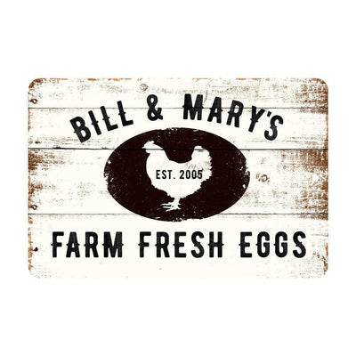 Personalized Farm Fresh Eggs Rustic Barnwood Look Metal Sign