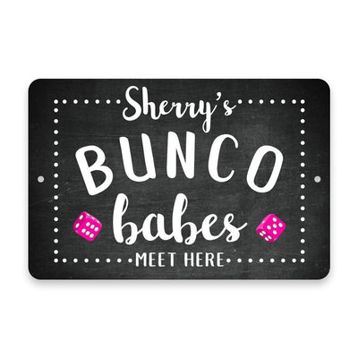 Personalized Chalkboard Bunco Babes Meet Here Metal Room Sign
