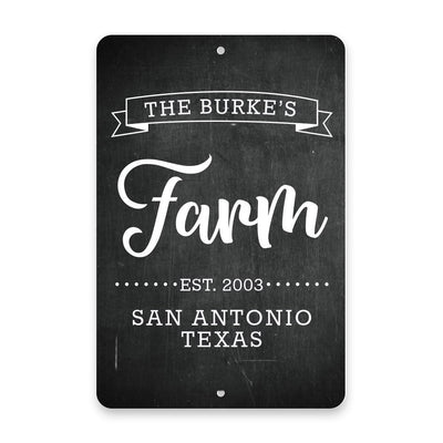 Personalized Chalkboard Farm with Name in Banner Metal Room Sign