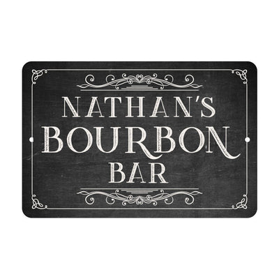 Chalkboard Look Bourbon Bar Metal Room Sign