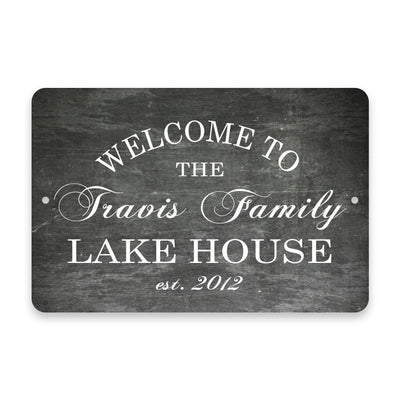 Personalized Chalkboard Welcome to The Family Lake House Metal Room Sign