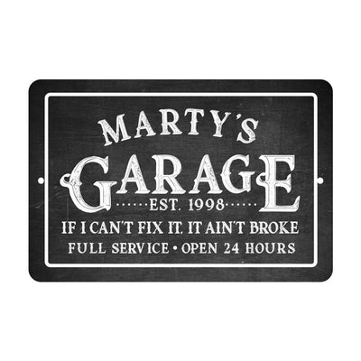 Personalized Chalkboard Garage If I Can't Fix It Metal Room Sign