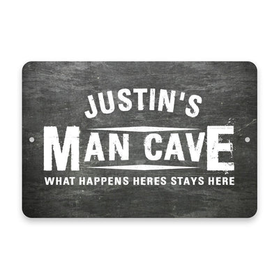 Personalized Chalkboard Man Cave Metal Room Sign