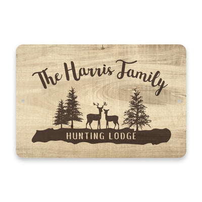 Personalized Subtle Wood Grain Hunting Lodge Metal Room Sign