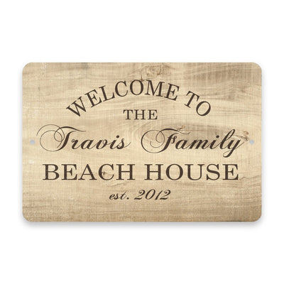 Personalized Subtle Wood Grain Welcome to The Family Beach House Metal Room Sign