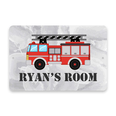 Personalized Fire Truck Metal Room Sign