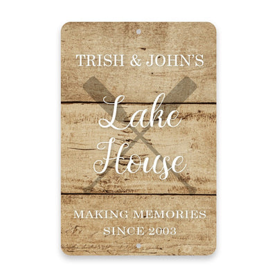 Personalized Rustic Crossed Oar Lake House Metal Room Sign