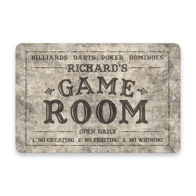 Personalized Concrete Grunge Game Room Metal Room Sign