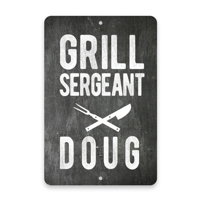 Personalized Chalkboard Grill Sergeant Metal Room Sign