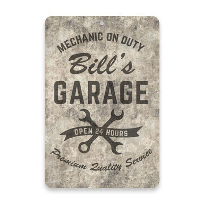 Personalized Concrete Grunge Mechanic on Duty Garage Metal Room Sign