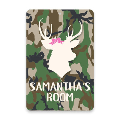 Personalized Camo Stag Head with Bow Metal Room Sign