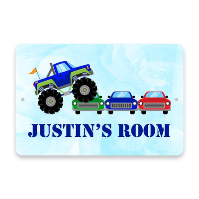 Personalized Monster Truck Rally Metal Room Sign
