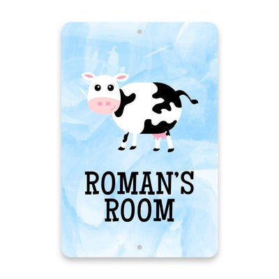 Personalized Cow Metal Room Sign