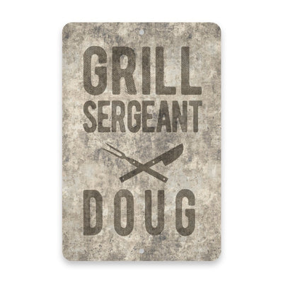 Personalized Concrete Grunge Grill Sergeant Metal Room Sign