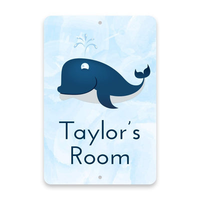 Personalized Whale Metal Room Sign