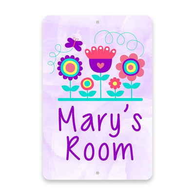 Personalized Purple Flowers Metal Room Sign