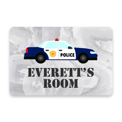 Personalized Police Car Metal Room Sign