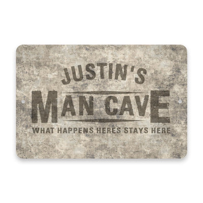 Personalized Concrete Grunge Man Cave Metal Room Sign