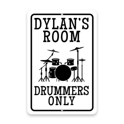 Personalized Drummers Only Metal Room Sign