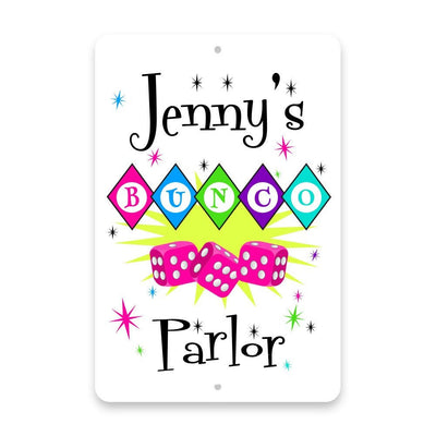 Personalized Bunco Parlor Metal Room Sign