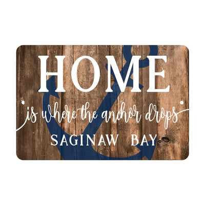 Personalized Home is Where The Anchor Drops Metal Sign