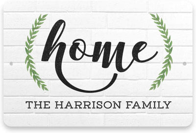 Personalized White Brick Look Home Sign - Metal 8 X 12 Sign