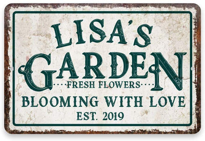 Personalized Vintage Distressed Look Flower Garden Metal Sign 8 X 12