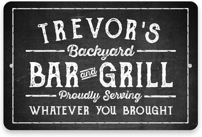 Personalized Chalkboard Look Bar & Grill Metal Sign 8 X 12