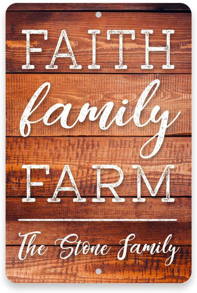 Personalized Faith. Family. Farm. Metal 8x12 Sign