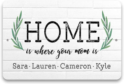 Personalized Home is Where Your Mom is 8 X 12 Metal Sign