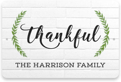 Personalized White Brick Look Thankful Sign - Metal 8 X 12 Sign