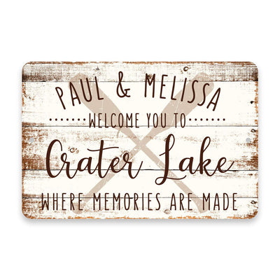 Personalized Welcome to Crater Lake Where Memories are Made Sign - 8 X 12 Metal Sign with Wood Look