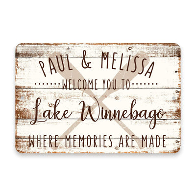 Personalized Welcome to Lake Winnebago Where Memories are Made Sign - 8 X 12 Metal Sign with Wood Look