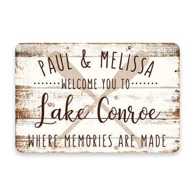 Personalized Welcome to Lake Conroe Where Memories are Made Sign - 8 X 12 Metal Sign with Wood Look