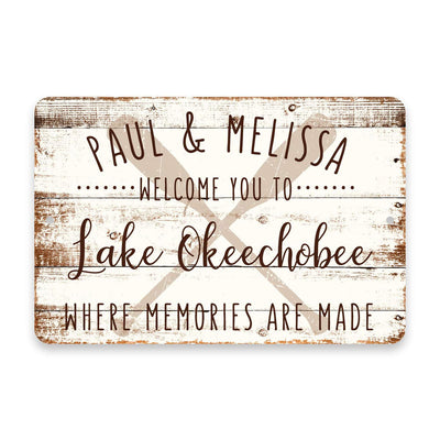 Personalized Welcome to Lake Okeechobee Where Memories are Made Sign - 8 X 12 Metal Sign with Wood Look