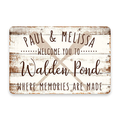 Personalized Welcome to Walden Pond Where Memories are Made Sign - 8 X 12 Metal Sign with Wood Look