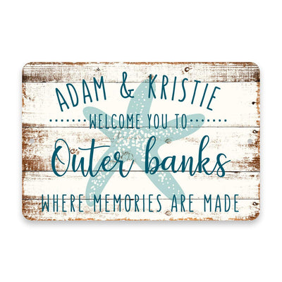 Personalized Welcome to Outer Banks Where Memories are Made Sign - 8 X 12 Metal Sign with Wood Look