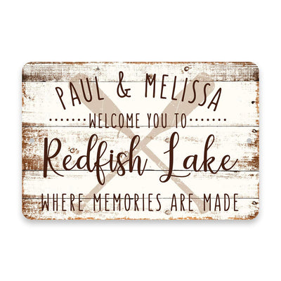 Personalized Welcome to Redfish Lake Where Memories are Made Sign - 8 X 12 Metal Sign with Wood Look